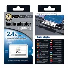 LT PLUS B7135 AUDIO ADAPTADOR CON INTERFAZ LIGHTNING Y 3.5MM PLATA