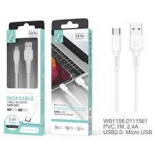 IKREA WB1156 CABLE DE DATOS PVC MICRO USB 2.4A 1M BLANCO