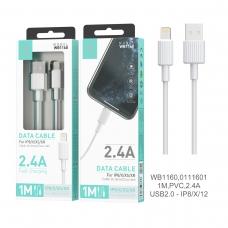 IKREA WB1160 CABLE DE DATOS PVC LIGHTNING 2.4A 1M USB2.0 BLANCO