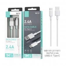 IKREA WB1161 CABLE DE DATOS PVC TYPE-C 2.4A 1M USB2.0 BLANCO