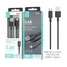 IKREA WB1161 CABLE DE DATOS PVC TYPE-C 2.4A 1M USB2.0 NEGRO