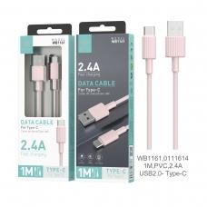 IKREA WB1161 CABLE DE DATOS PVC TYPE-C 2.4A 1M USB2.0 ROSA