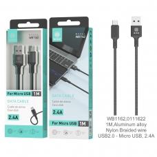 IKREA WB1162 CABLE TRENZADO DE NYLON ACABADO ALUMINIO MICRO USB 2.4A 1M NEGRO