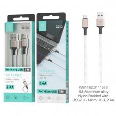 IKREA WB1162 CABLE TRENZADO DE NYLON ACABADO ALUMINIO MICRO USB 2.4A 1M ORO