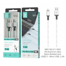 IKREA WB1162 CABLE TRENZADO DE NYLON ACABADO ALUMINIO MICRO USB 2.4A 1M PLATA