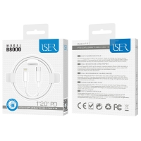 ISER B8000 CABLE USB-C TO LIGHTNING 1M BLANCO