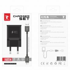LT PLUS A8514 CARGADOR RÁPIDO CON CABLE MICRO USB V8 2A NEGRO