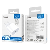 ISER A8800 CARGADOR RÁPIDO USB C BLANCO QC 3.0A 20W BLANCO
