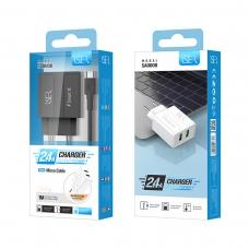 ISER SA0000 CARGADOR DE VIAJE CON CABLE MICRO USB 2 PUERTOS 2.4A NEGRO