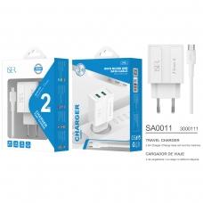ISER SA0011 CARGADOR DE VIAJE CON CABLE MICRO USB 2 PUERTOS 2.4A BLANCO