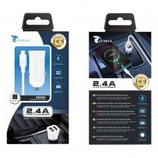 LT PLUS A8582 CARGADOR PARA COCHE CON CABLE MICRO USB V8 2 PUERTOS 2.4A BLANCO