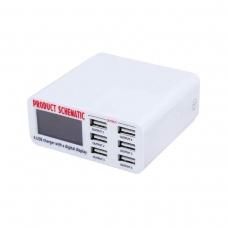 SCHEMATIC 899 cargador rápido 6 puertos USB con pantalla digital LCD QC3.0 30W