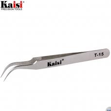 KAISI T-15 pinza profesional de punta curvada y fina