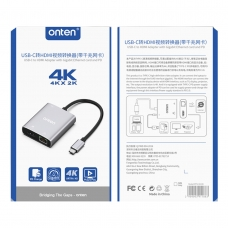 ONTEN OTN-91188 USB-C TO HDMI ADAPTER WITH GIGABIT ETHERNET CARD AND PD