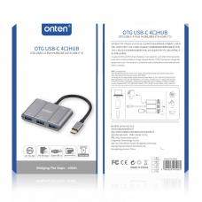 ONTEN OTN-9506B OTG USB-C 4-PORT HUB(USB3.0*4+USB-C*1) GRIS