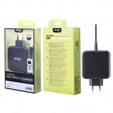 MTK AT002 Cargador universal con cable TYPE C para notebook y smartphone 65W 1.5M negro