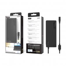 ONE PLUS AT007 Cargador Universal Automatico con 11 Conectores para Portatiles 120W 7A Max Cable 1.2M Negro