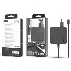 MTK AT960 Cargador universal automatico con conector TYPE C para portatiles y moviles 45W 3A 1.5M negro