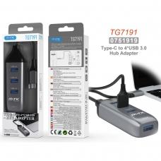 MTK TG7191 Hub USB 3.0 4 en 1 TYPE C a 4 USB 3.0 5Gbps longitud 0.12M gris