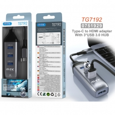MTK TG7192 Hub USB 3.0 4 en 1 TYPE C a 3 USB 3.0 y 1HDMI 4K longitud 0.12M gris