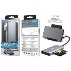 MTK TG7193 Hub USB 3.0 5 en 1 TYPE C a 2 USB 3.0/Lector SD/Lector Micro SD/Lector CF Longitud 0.12M gris