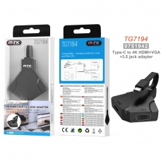 MTK TG7194 Hub Multifunciones 3 en 1 TYPE C a HDMI 8K 2160P 10Gbps/VGA 1080P/Audio 3.5mm longitud 0.1M gris