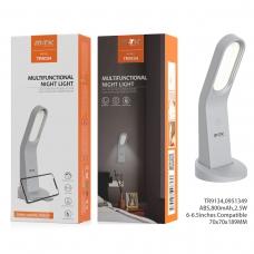 MTK TR9134 Lámpara de noche con botón tactil,soporte de movil y imán para colgar 800mAh gris