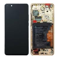 Pantalla completa con marco para Huawei P40 Pro oro rosado original nueva(Service Pack)